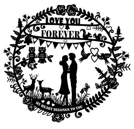 adentro y afuera: Artes del corte del papel - silueta del hombre y mujer abrazos y los animales pareja con el texto te amo para siempre