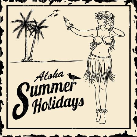 aloha: Vintage tin sign - Drawing of hula girl dancing with text aloha summer holidays
