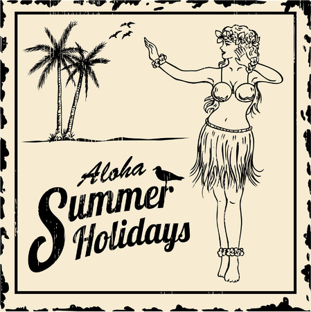 Vintage tin sign - Drawing of hula girl dancing with text aloha summer holidays