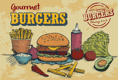 fry: Hand drawn of hamburger and ingredients in retro style with 100% gourmet burger stamp, vector