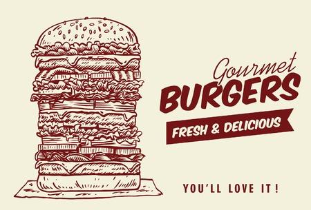 Drawing of tower hamburger, vector