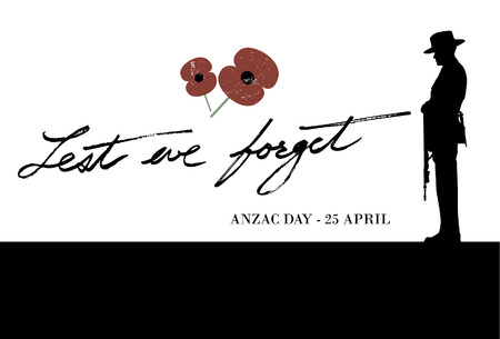tribute: Anzac Day - Soldier pays tribute to fallen soldiers Illustration