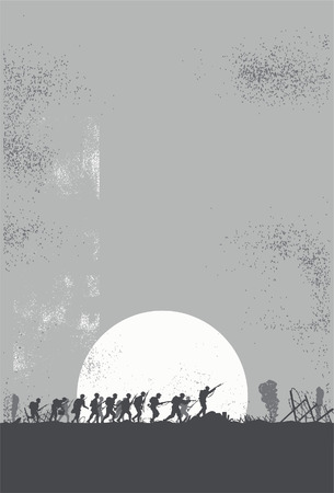 Silhouet van de soldaten die vechten op het slagveld Stock Illustratie
