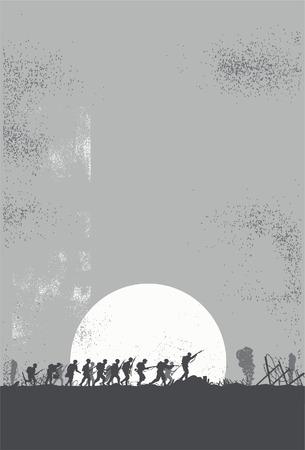 silhouette soldat: Silhouette de soldats combattant dans le champ de bataille
