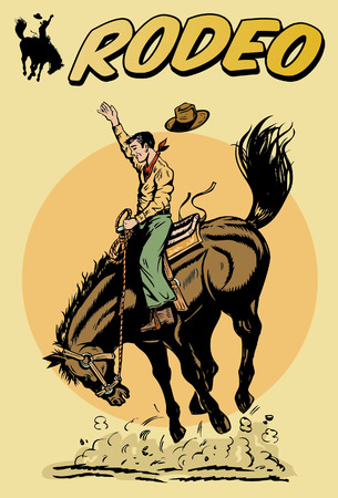 cowboy cartoon: Cowboy riding horse