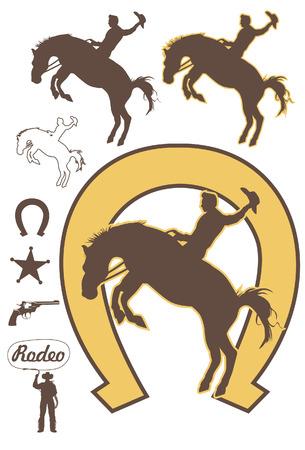 cavallo che salta: Rodeo cowboy cavalcando un bronco bucking, vettore
