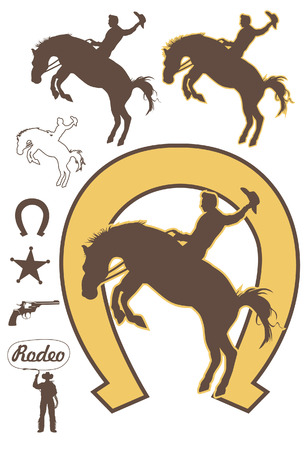Rodeo cowboy riding a bucking bronco, vector Stock Illustratie