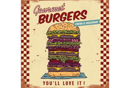 big size: Vintage gourmet hamburger sign, vector