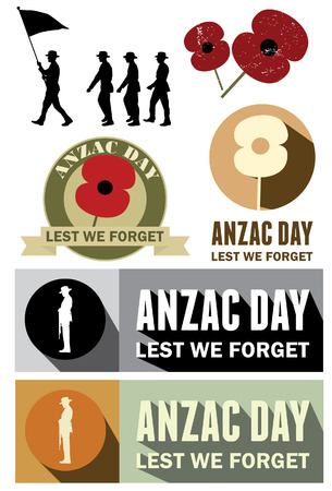 Set of Anzac Day labels on white background, vector Illustration
