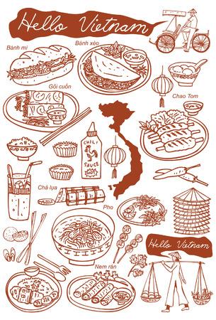 pollo caricatura: Conjunto de iconos de los alimentos y vietnamitas doodles, vector