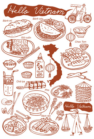 bowl with rice: Set of Vietnamese food and icons doodles, vector