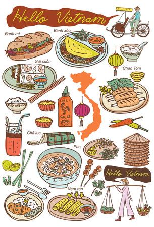 rikscha: Set vietnamesische Speisen und Symbole doodles, vector