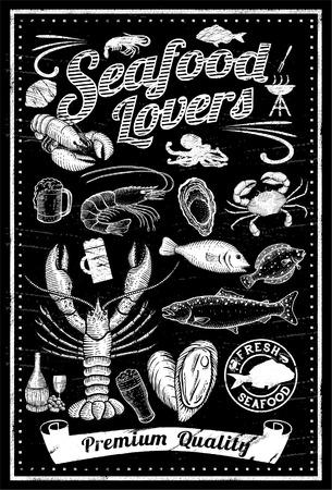 cangrejo: Conjunto de dibujado a mano de mariscos en la pizarra