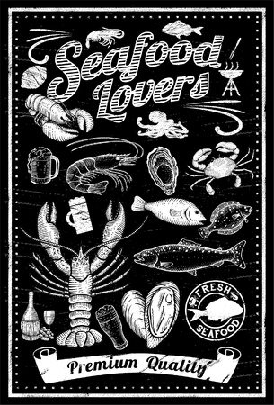 seafood background: Set of hand drawn seafood on blackboard