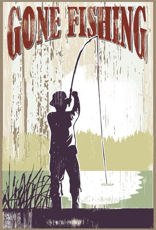 ヴィンテージ釣りに行ってサイン。湖で釣りをする男。