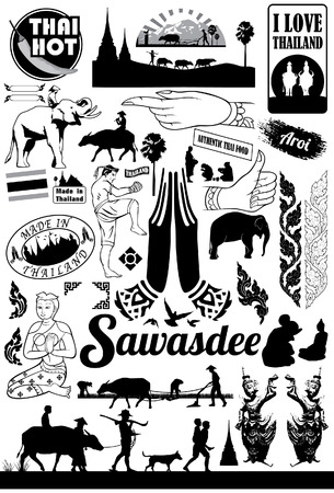 Conjunto de iconos de Tailandia, vector Foto de archivo - 38937181