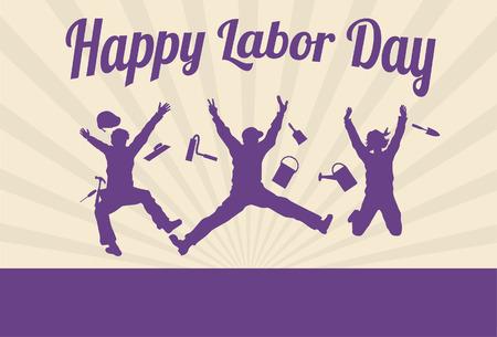 the working day: Silueta de trabajadores felices que saltan con el texto feliz día del trabajo