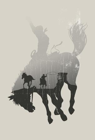 american rodeo: Doble exposición de vaquero persiguiendo caballo salvaje a través del desierto en un vector de fondo vaquero de rodeo