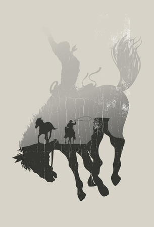 silhouette america: Double exposure of cowboy chasing wild horse through desert on a rodeo cowboy background vector