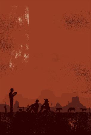 Cowboys taking a break vector