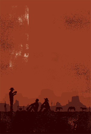 desert sunset: Cowboys taking a break vector