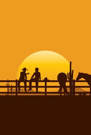 夕日ベクトルのフェンスの上に座ってのカウボーイのシルエット  イラスト・ベクター素材