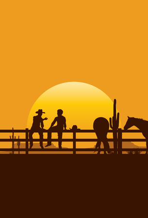Silhouette of cowboys sitting on fence at sunset vector