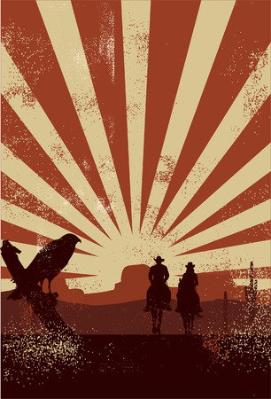 country landscape: Cowboy silhouette vector Illustration