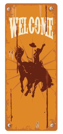 Grunge achtergrond met cowboy wild paard silhouet vector