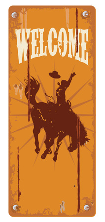 old west: Grunge background with cowboy riding wild horse silhouette vector