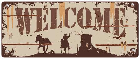 Vintage tin teken cowboy achtervolgende paard Stock Illustratie