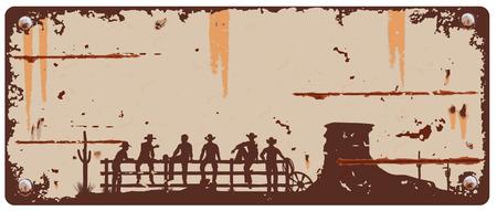 Cowboys sitting on fence sign Illustration
