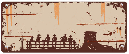 Cowboys sitting on fence sign Vectores