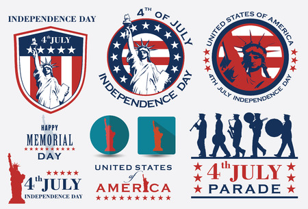 brass band: 4th of july American independence day badges. Illustration