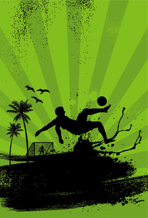 overhead: Sport Poster Beach soccer player performing overhead kick on grunge background vector Illustration