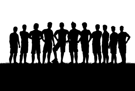 soccer ball on grass: Silhouettes of soccer team Illustration