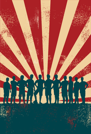 Silhouettes of soccer team on grunge background Vectores