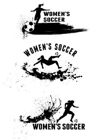 futbol soccer dibujos: Silueta de jugadores de fútbol femenino sobre las manchas splash fondo Vectores