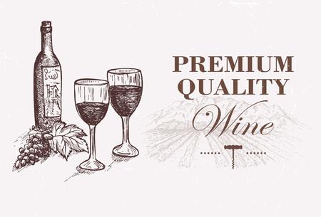 wine grape: Hand drawn wine bottle and glasses on vineyard landscape Illustration