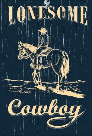 vaquero: Dibujado a mano de montar a caballo del vaquero en un cartel de madera Vectores
