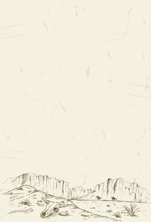 Hand drawn of two cowboys galloping through desert Vectores