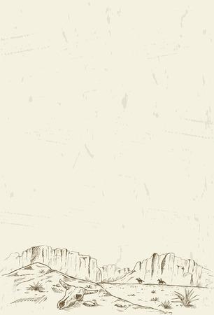 Tiré par la main de deux cow-boys au galop à travers le désert Banque d'images - 43647464