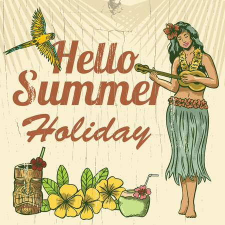 Hello summer holiday wooden sign, woman playing ukulele on the beach Vectores
