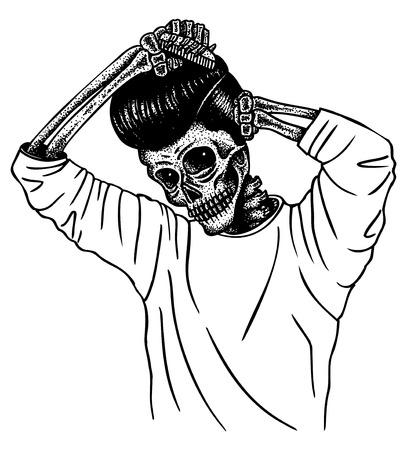 elvis presley: Greaser Skull combing hair Illustration