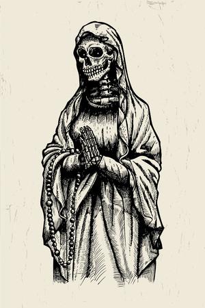 orando: Dibujado a mano de la Santa Muerte esqueleto rezando