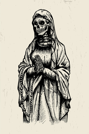 Hand drawn of Santa Muerte praying skeleton Stock Illustratie
