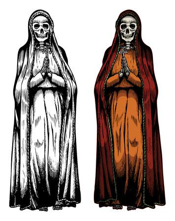 Hand drawn of Santa Muerte praying skeleton Illustration