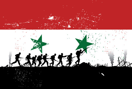 civil war: Silhouette of soldiers fighting at war with Syria flag as a background