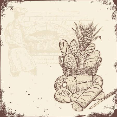 panadero: Letrero de la panadería, cesta de pan y el panadero hornear pan en un horno de ladrillo.