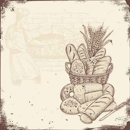 Piekarnia szyld, kosz chleba i piekarz wypieku chleba w piecu z cegły.